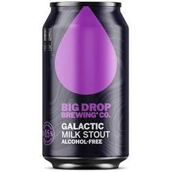 Dark can featuring a big purple teardrop shape and purple writing