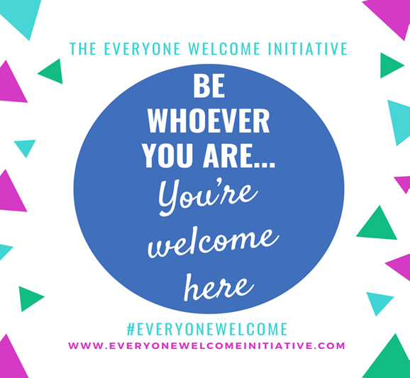 """A blue circle on white background with text in it that reads """"Be Whoever You Are... You're Welcome Here"""""""