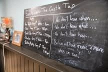 A long narrow listings blackboard is set on a shelf against a blue wall. It gets further away right to left.