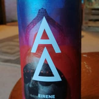 Large can fading from blue to pink, a person's face at the bottom; emblazoned with an A (alpha) over a triangle (Delta).